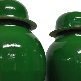 A PAIR OF LARGE EMERALD GREEN CHINESE GLAZED VASES