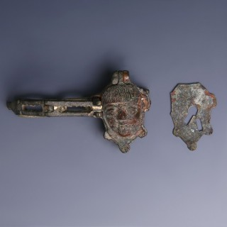 Roman Bronze Figural Padlock With Chain