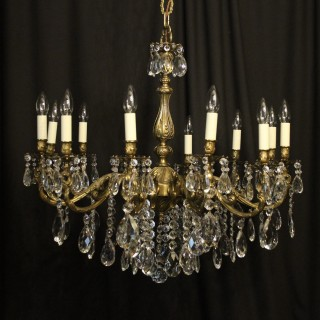 Italian Gilded Brass 12 Light Chandelier