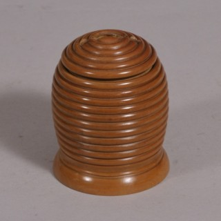 Antique Treen 19th Century Boxwood Beehive Money Box