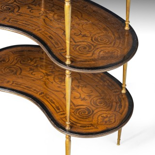 A Very Attractive Late 19th Century Three Tier Kidney Shaped Etagere.