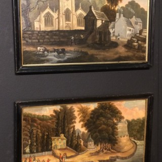 Pair of early 19th century paintings,oil on panel.
