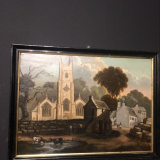 Pair of early 19th century primitive paintings,oil on panel,of Mount Edgcumbe,Plymouth..