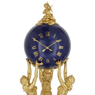 'Three Graces,' three-piece lapis and gilt bronze clock set