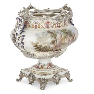 Three-piece silver mounted porcelain garniture by Tétard Frères