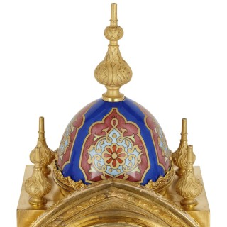 Belle Époque period ormolu and porcelain mantel clock in Moorish style