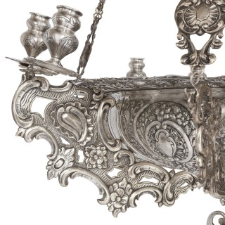 Large solid silver chandelier decorated in Baroque manner