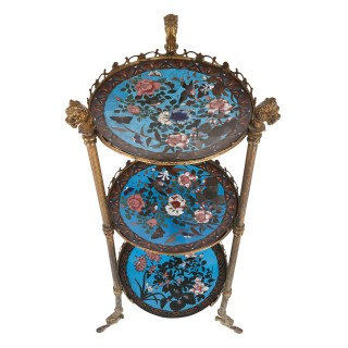French enamel and gilt metal three-shelf tiered table