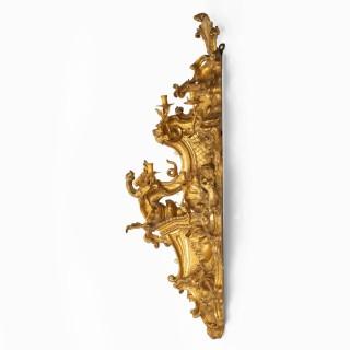 A Rare Pair of Mid 19th Century Italian Giltwood Girandoles