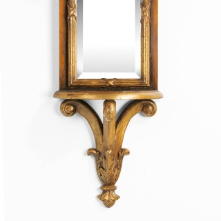 A Late 19th Century Walnut and Parcel Gilt Slender Wall Mirror