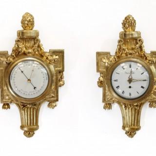 Swiss Gilt Verge Cartel Clock and Barometer