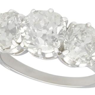 4.30ct Diamond and Platinum Trilogy Ring - Antique Circa 1910