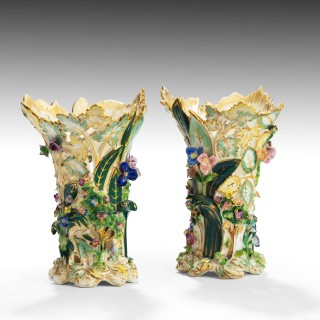 A Fine Pair of Mid 19th Century Coalbrookdale Vases