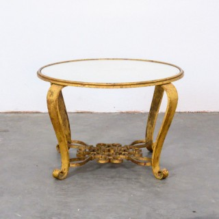 Gilded wrought iron circular low table