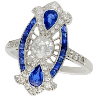 0.80ct Sapphire and 0.66ct Diamond, Platinum Dress Ring - Art Deco - Antique Circa 1910