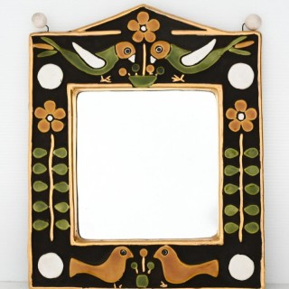 François Lembo style ceramic mirror in gold and colours