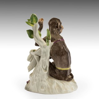 A Late 19th Century Meissen Porcelain Crouching Monkey