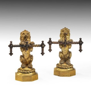 Pair of Late 19th Century Gilded Brass Chenet
