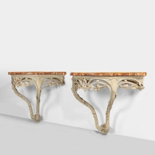 A Rare Pair of Late 18th Century Continental Pier Tables