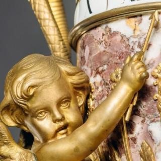 A Rare Louis XVI Style Gilt-Bronze Mounted Marble Annular Dial Pedestal Clock In The Manner of Jean-André and Jean-Baptiste Lepaute, Attributed to Dufaud Paris