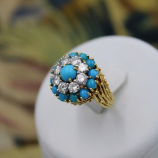 A Very Stylish 18 Carat Yellow Gold, Turquoise & Diamond Cocktail Ring, French, Circa 1960.