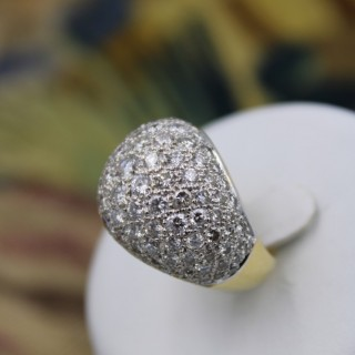 An Extremely Stylish 18 Carat  Yellow Gold and Diamond Demi-Bombe Style Ring, French Marks, Circa 1980.