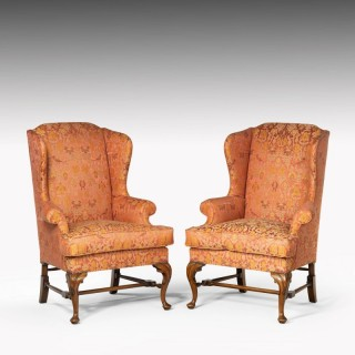 A Fine Quality Pair Early 20th Century Walnut Framed Wing Chairs