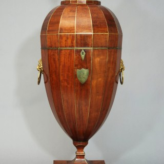 Exceptionally rare superb quality late 18th century mahogany cutlery urn of extremely large proportion