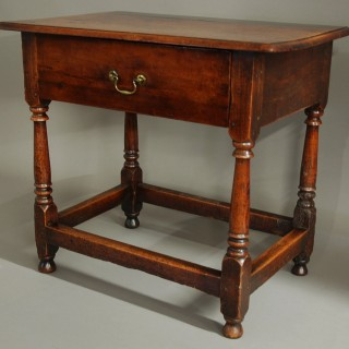 18th century cherry wood joined side table of superb patina