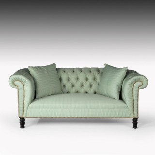 A Classical Edwardian Two Seater Deep Buttoned Sofa