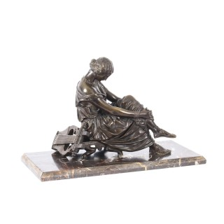 Antique French Bronze Sculpture of Seated Poet Sappho after J. Pradier 19th C