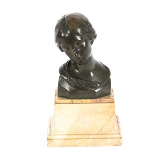 Antique Bronze Head Bust of a Lady After Raphael Signed H. Luppens & Cie Ca 1900