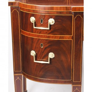 Antique George III Scottish Mahogany and Line Inlaid Bowfront Sideboard Ca 1790
