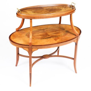 Antique Sheraton Revival Satinwood and Marquetry Etagere Tray Table c.1890