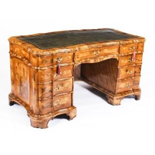 Antique Victorian Burr Walnut Pedestal Desk Serpentine Form Ca 1850 19th C