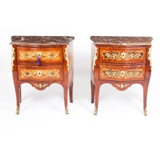 Antique Pair French Kingwood Marquetry Bombe Commodes Bedside Chests 19th C