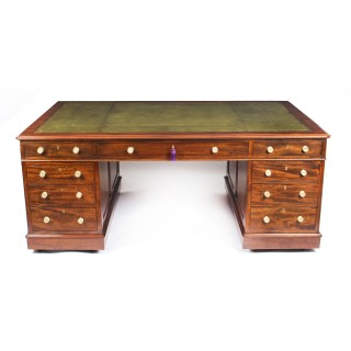 Antique Flame Mahogany Partners Pedestal Desk by Edwards & Roberts 19th C