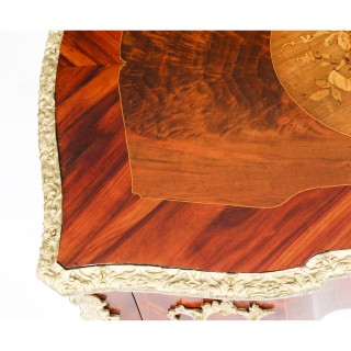 Antique French Louis XV Revival Walnut Marquetry Occasional Side Table 19th C
