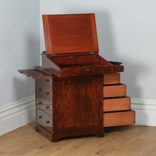 Antique English Georgian Regency Flame Mahogany Davenport Writing Office Desk (Circa 1820)