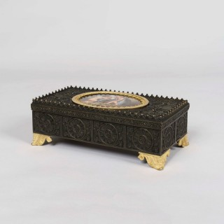 A Gothic Revival Bronze Inkwell