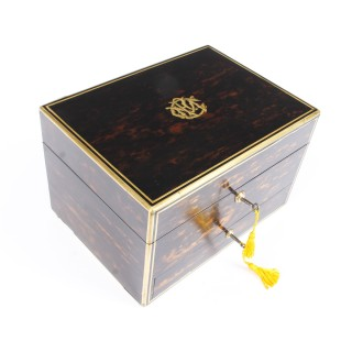 Antique Victorian Coromandel Brass Banded Jewellery and Dressing Box 1873 19th C