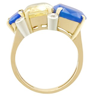 12.61ct Sapphire and 0.22ct Diamond, 9ct Yellow Gold Dress Ring - Vintage Circa 1940