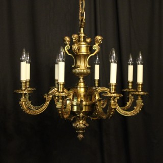 French Gilded Bronze 8 Light Antique Chandelier