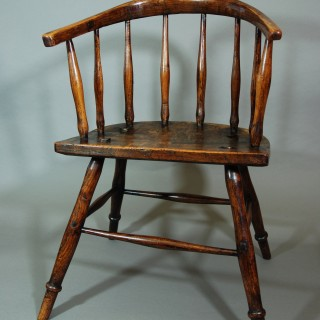 19th century primitive hoop back ash Windsor child's chair of superb patina