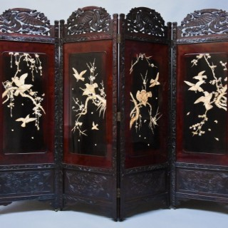 Large superb quality 19thc Japanese Meiji period four-fold screen with shibayama panels