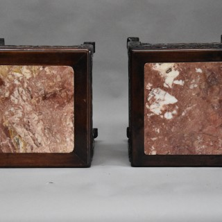 Late 19thc matched pair of square Chinese pot stands