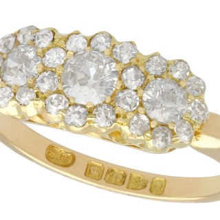1.44ct Diamond and 18ct Yellow Gold Cluster Ring - Antique Victorian