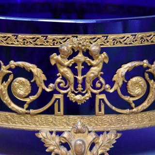 Fine quality late 19th century blue glass and gilt metal centrepiece