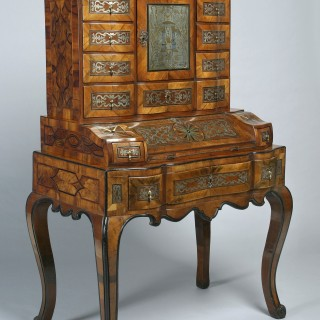 Rare South German 18thc walnut bureau-cabinet on stand of exceptional quality