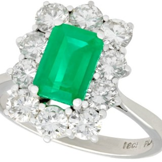 1.57ct Emerald and 1.72ct Diamond, 18ct White Gold Cluster Ring - Vintage Circa 1940